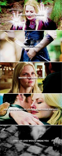 Heroes aren't fearless. Heroes are brave. Bravery requires fear and fear is born of loving something enough its loss would break you. #ouat