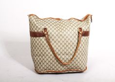 f18e947bf54 Vintage Gucci Logo Print with Leather Trim Oversize Tote Bag