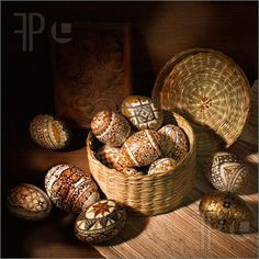 Pics of handmade brown romanian decorated easter egg still-life