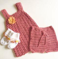 Crochet Baby Dress, Bloomers and Socks mo. Crochet Baby, Crochet Top, Rosy Pink, New Baby Girls, Sweet Dress, Orange Flowers, Baby Dress, New Baby Products, Socks