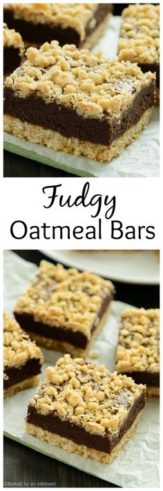 Thick chocolate fudge sandwiched between two layers of chewy oatmeal. These fudgy oatmeal bars are a chocolate lover's dream!