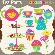Tea Party Digital Clipart by riefka on Etsy, $5.00
