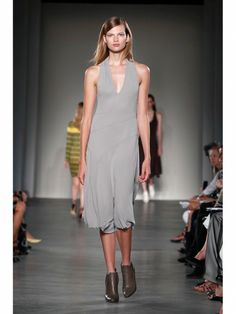 Derek Lam grey sleeveless dress on the runway during Mercedes Benz Fashion Week Spring/Summer 2013 on September 9 in New York City. #NYFW #clothing