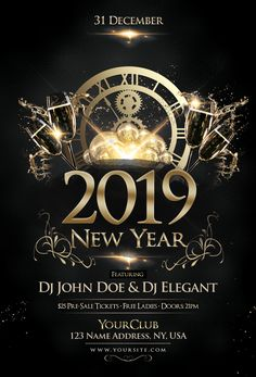 New years eve party flyer psd