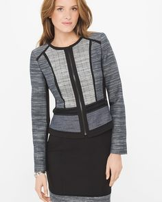 """Raise your blazer game with our tweed jacket. Modern take on colorblocking, innovative seam detail and unexpected textures layer sharply over a shape-making sheath dress...or opt to mix pattern and print with a floral top and straight-leg jeans.  Tweed jacket Zip front; fitted at the waist Seam detailing; contrast piping Lined Regular: Approx. 21 1/4"""" from shoulderPetite: Approx. 20 1/4"""" from shoulderCotton/acrylic/polyester. Machine wash cold.  Imported"""