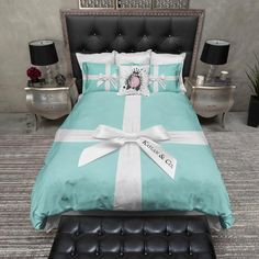 Name & Co Personalized Fashion Bedding Name & Co Personalized Duvet Bedding Sets Duvet Bedding Sets, Luxury Bedding Sets, Comforters, Teal Bedding, Modern Bedding, King Comforter, Unique Bedding, Tiffany Blue Bedroom, Tiffany Inspired Bedroom