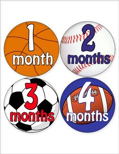 Monthly Baby Boy Sports Stickers Sports by MoonLitPrintables, $8.00