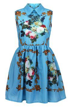 Retro Printing Blue Dress(Arrival on September 14th)