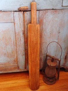 Early Primitive Wood Mangle Board Feather Bed by prairieantiques