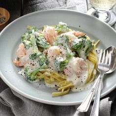 A student made this for his final project...very good....Broccoli Shrimp Alfredo