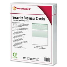 DocuGard Check Paper - Item # PRB04502 - Incorporates security features recommended by the National Check Fraud Center; Security features include Check-21 compliancy and VOID pantograph behind endorsement; Also security warning, VOID when copied, anti-splice backer, patterned background and microtext print; For use with all laser and inkjet printers
