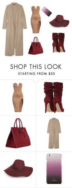 """winter still"" by lana-653 ❤ liked on Polyvore featuring Mansur Gavriel, The Row, Halogen, Kate Spade, dress and bags"