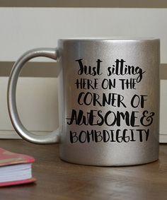 Loving this Silver Glitter 'Corner of Awesome & Bombdiggity' Mug on #zulily! #zulilyfinds