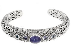 Artisan Gem Collection Of Bali(Tm) .40ctw Tanzanite And Swiss Blue Topaz Sterling Silver Bracelet