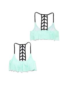 f552600a7e9d4 Victoria Secret swimsuit Ladder-back Flounce Top