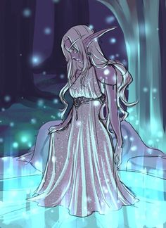 Elf dress fantasy drow dark night pool magic shock White hair highlight highlights female