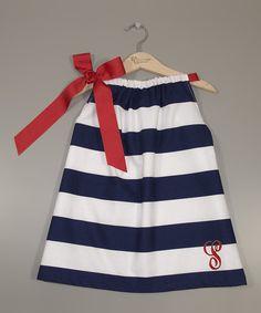 Loving this Navy & White Initial Pillowcase Dress - Infant, Toddler & Girls - Women on #zulily! #zulilyfinds