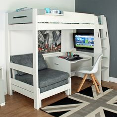 Purchase a Urban Grey High Sleeper 1 at Room To Grow. We offer price match availability on the Urban Grey High Sleeper 1 & free delivery available Bedroom Loft, Kids Bedroom, Bedroom Decor, Bedroom Ideas, Small Bedrooms, Grey Single Bed, Grey Bed, Single Beds, Bunk Bed With Desk