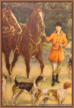 FOX HUNTING ON HORSEBACK FOX HOUNDS RARE COLOR SPORTING PRINT FOXHOUNDS HUNT