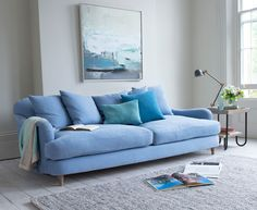 Achilles sofa in our China Blue brushed cotton