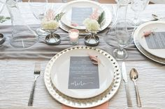 Elegant, modern table setting idea - gold geometric chargers with black menus + sprigs of pink flowers {Brittani Elizabeth Photography}