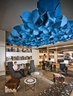 Growing arial sculpture  Oxigen #office. Designed to foster #creativity-very cool approach with the ceiling structure! http://www.australiandesignreview.com/designwall/24625-oxigen-office