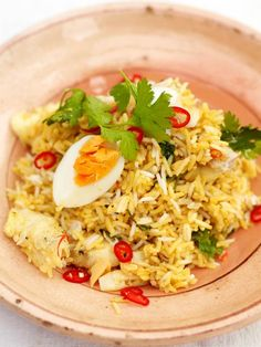 Kedgeree | Jamie Oliver | Indian fried rice similar to nasi goreng. Though it calls for haddock, I'm sure it would be simple and lovely without.