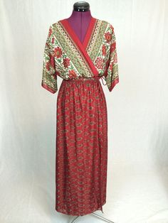 Vintage Boho Maxi Wrap Dress in Ruby Red w/ by ArchiveVintageHaus, $43.00