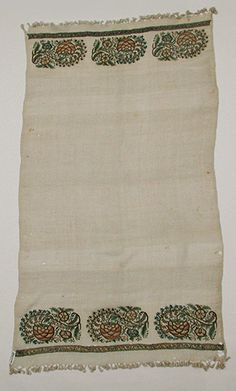 Towel Date: century Geography: Attributed to Turkey Medium: Linen; embroidered in silk, metal thread, and tinsel Dimensions: 52 in. Cultural Crafts, Embroidered Towels, Body Adornment, Turkish Fashion, Folk Embroidery, Linen Towels, Cutwork, Turkish Towels, Islamic Art