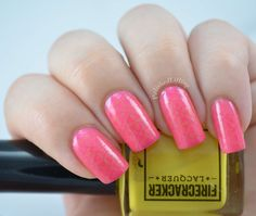 Canary Cavalcade over Flamingo Fanfare, swatched by Polished Lifting