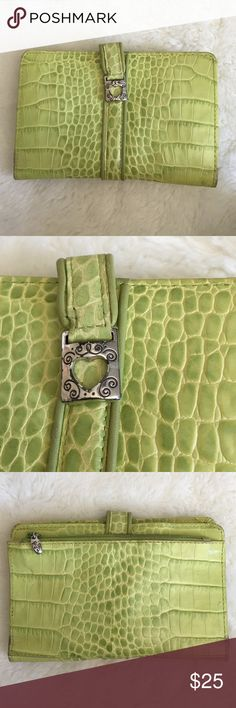 """Brighton Green Leather Wallet Preowned Authentic Brighton Green Leather Wallet. It measures 4.5"""" tall and 7"""" wide. Zippered coin holder. Please look at pictures for better reference. Happy shopping! Brighton Bags Wallets"""