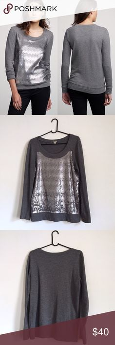 J. Crew Sequin Crewneck Pullover Sweater Dark grey cotton crewneck sweater with sequin detail in front. All sequins appear to be in tact. Some are flipped upright and reflect a darker color than others. Excellent used condition. Runs slightly oversized. Perfect for sprucing up an otherwise normal outfit or wearing to your office's holiday party this year where you'll get drunk on a variety of punches and tell everyone what you really think of them. But you'll look really adorable doing it…