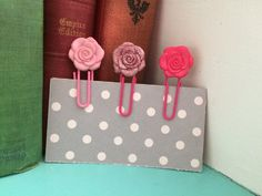 Pretty Pink Flower Clips/Page Markers. AmpedUpPlanners on Etsy! #charms #planner #filofax #planergirl