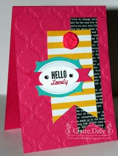 Stampin Up Hello Lovely, Strawberry Slush, Bermuda Bay, Crushed Curry, Simply Pressed Clay