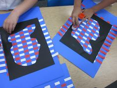 Students weave red and white strips onto a blue paper with a black cut out profile of George Washington as a means of learning to recognize his profile. We use these colors to generate ideas about patriotism and how our flag came to be and how it has evolved over the years.