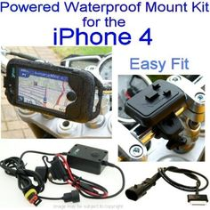Waterproof iPhone 4 Bike Mount kit - Easy Fit (9797). Standard easy fit motorcycle handlebar mount, waterproof hard shell case & direct to battery hard wire charger for the Apple iPhone 4. Bike mount has tilt & swivel adjustment. Fits bars 21mm-33mm. Secure twin screw fixture. Case has protective silicon liner. All phone function areas are accessible. Clear touch responsive front lens. Front & rear camera access. Light sensor, headphone & power access. Charge direct from your bike…