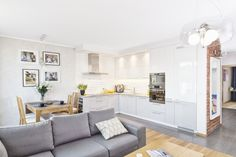 Nowoczesny minimalizm z akcentem starej cegły w 74 - PLN Design Kitchenette, Interior Decorating, Interior Design, Beautiful Interiors, Sweet Home, Couch, Living Room, Furniture, Home Decor