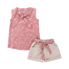 Summer Girls Kids Girl Floral Bowknot Sleeveless Top + Shorts Pants Casual Sets Children's Girls New , Kids Outfits Girls, Kids Girls, Girl Outfits, Girls Dresses, Summer Baby, Summer Girls, Summer Suits, 2 Piece Outfits, Look Cool