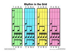 Rhythm in the Grid - Susan Paradis Piano Teaching Resources Piano Lessons, Music Lessons, Reading Music, Music Charts, Piano Teaching, Elementary Music, Music Classroom, Music Theory, Music Education