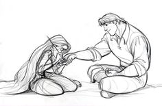 It looks like Rapuznel and Kristoff...well, if he's courting Anna, then Anna would surely take him to see her cousin.