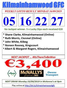 Kilmainhamwood GFC Lotto & News The Numbers Drawn : 26 . Lotto Winners, Jackpot Winners, Lotto Online, Online Tickets, Super Lotto, Lotto Draw, Ben Reilly, Number Drawing, I Am Grateful
