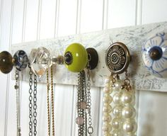 Jewelry Organizer / Necklace Holder with Chartreuse and Blue - Jewelry Jewelry Rack, Jewelry Holder, Jewellery Storage, Jewelry Organization, Bracelet Holders, Necklace Holder, Diy Necklace, Custom Jewelry, Diy Jewelry