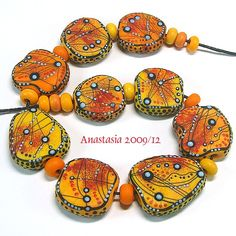 Lampwork Tabular Bead Set by Anastasia.