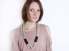 OOAK  Cotton rope necklace in creme with leather von ChezKristel, $29,00    #necklace #etsy #nude #jewelry #plum #bordeaux #diy #handmade #burgundy #beige #grey #knot