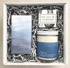 The Lake- Shortbread cookies wrapped in a watercolor print by Amy Stone Sea Salt and Lavender bath fizzle by Formulary 55 The Sea candle by Teak & Twine with blue & silver foil label. This gift is one of our most popular mini gifts! Everything for the perfect gift wrapped in a tiny package!