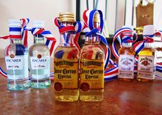 Use small liquor bottles as Olympic medals--gold, silver, and bronze #GoForGold