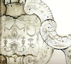 close up of an antique Venetian mirror