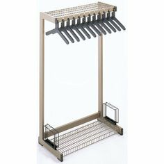 Office Rak Floor Rack with Boot Shelf and Umbrella Holder Color: Black, Width: 3' by Magnuson. $384.99. OR-3A(Black) Color: Black, Width: 3' Features: -Vinyl coated steel hat and boot shelves with umbrella holders.-Slotted theft deterrent hangers. Color/Finish: -Black or Medium Gray finish. Dimensions: -Available in 2', 3', and 4' lengths.-60'' H x 24'' W x 18'' D with 8 hangers.-60'' H x 36'' W x 18'' D with 12 hangers.-60'' H x 48'' W x 18'' D with 16 hangers.
