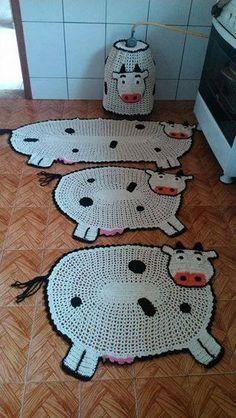 Коврики. Crochet Cow, Cute Crochet, Crochet Animals, Crochet Crafts, Easy Crochet, Crochet Projects, Crochet Bedspread Pattern, Crochet Patterns, Rope Rug