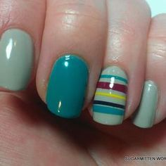 28 Trendy Ideas for manicure pedicure combo turquoise Green Nail Designs, Classy Nail Designs, Nail Art Designs, Nails Design, Love Nails, How To Do Nails, Fun Nails, Nail Photos, Manicure And Pedicure